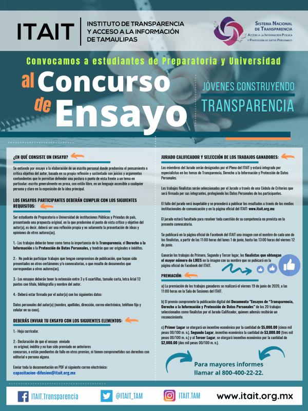 Convoca ITAIT al Concurso de Ensayo «Jóvenes Construyendo Transparencia»