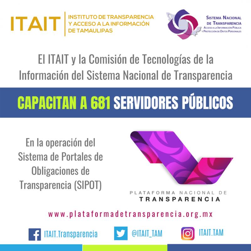 ITAIT y Sistema Nacional de Transparencia capacitan a 681 servidores públicos en el uso del SIPOT.