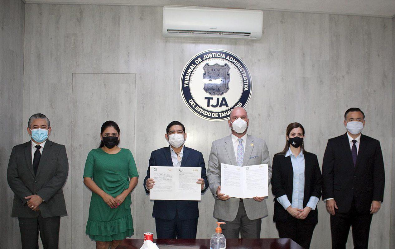 ITAIT y Tribunal de Justicia Administrativa firman convenio de colaboración para trabajar coordinadamente en el impulso a la Transparencia
